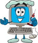 Clip Art Graphic of a Desktop Computer Cartoon Character Doctor Holding a Syringe