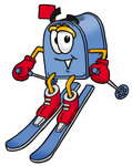 Clip Art Graphic of a Blue Snail Mailbox Cartoon Character Skiing Downhill