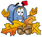 Clip Art Graphic of a Blue Snail Mailbox Cartoon Character With Autumn Leaves and Acorns in the Fall