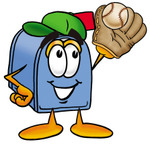 Clip Art Graphic of a Blue Snail Mailbox Cartoon Character Catching a Baseball With a Glove