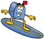 Clip Art Graphic of a Blue Snail Mailbox Cartoon Character Surfing on a Blue and Yellow Surfboard