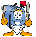 Clip Art Graphic of a Blue Snail Mailbox Cartoon Character Holding a Knife and Fork