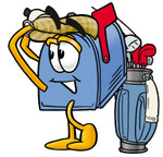 Clip Art Graphic of a Blue Snail Mailbox Cartoon Character Swinging His Golf Club While Golfing