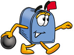 Clip Art Graphic of a Blue Snail Mailbox Cartoon Character Holding a Bowling Ball