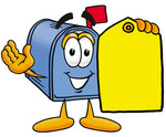 Clip Art Graphic of a Blue Snail Mailbox Cartoon Character Holding a Yellow Sales Price Tag
