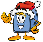 Clip Art Graphic of a Blue Snail Mailbox Cartoon Character Wearing a Santa Hat and Waving