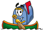 Clip Art Graphic of a Blue Snail Mailbox Cartoon Character Rowing a Boat