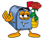 Clip Art Graphic of a Blue Snail Mailbox Cartoon Character Holding a Red Rose on Valentines Day