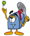 Clip Art Graphic of a Blue Snail Mailbox Cartoon Character Preparing to Hit a Tennis Ball