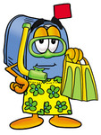 Clip Art Graphic of a Blue Snail Mailbox Cartoon Character in Green and Yellow Snorkel Gear