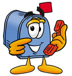 Clip Art Graphic of a Blue Snail Mailbox Cartoon Character Holding a Telephone