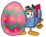 Clip Art Graphic of a Blue Snail Mailbox Cartoon Character Standing Beside an Easter Egg