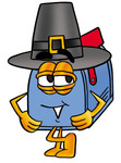 Clip Art Graphic of a Blue Snail Mailbox Cartoon Character Wearing a Pilgrim Hat on Thanksgiving