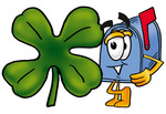 Clip Art Graphic of a Blue Snail Mailbox Cartoon Character With a Green Four Leaf Clover on St Paddy's or St Patricks Day