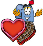 Clip Art Graphic of a Blue Snail Mailbox Cartoon Character With an Open Box of Valentines Day Chocolate Candies