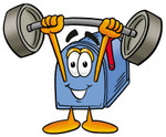 Clip Art Graphic of a Blue Snail Mailbox Cartoon Character Holding a Heavy Barbell Above His Head