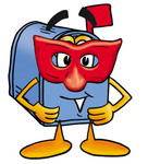 Clip Art Graphic of a Blue Snail Mailbox Cartoon Character Wearing a Red Mask Over His Face