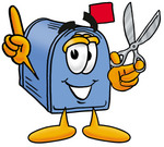 Clip Art Graphic of a Blue Snail Mailbox Cartoon Character Holding a Pair of Scissors