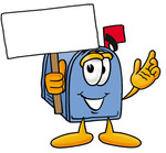 Clip Art Graphic of a Blue Snail Mailbox Cartoon Character Holding a Blank Sign