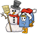 Clip Art Graphic of a Blue Snail Mailbox Cartoon Character With a Snowman on Christmas