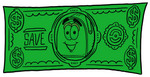 Clip Art Graphic of a Blue Snail Mailbox Cartoon Character on a Dollar Bill