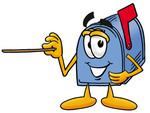 Clip Art Graphic of a Blue Snail Mailbox Cartoon Character Holding a Pointer Stick