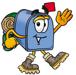 Clip Art Graphic of a Blue Snail Mailbox Cartoon Character Hiking and Carrying a Backpack