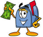Clip Art Graphic of a Blue Snail Mailbox Cartoon Character Holding a Dollar Bill