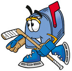 Clip Art Graphic of a Blue Snail Mailbox Cartoon Character Playing Ice Hockey