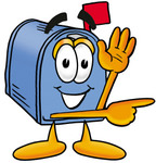 Clip Art Graphic of a Blue Snail Mailbox Cartoon Character Waving and Pointing