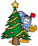 Clip Art Graphic of a Blue Snail Mailbox Cartoon Character Waving and Standing by a Decorated Christmas Tree