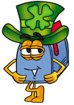 Clip Art Graphic of a Blue Snail Mailbox Cartoon Character Wearing a Saint Patricks Day Hat With a Clover on it