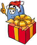 Clip Art Graphic of a Blue Snail Mailbox Cartoon Character Standing by a Christmas Present
