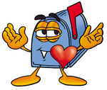 Clip Art Graphic of a Blue Snail Mailbox Cartoon Character With His Heart Beating Out of His Chest