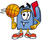 Clip Art Graphic of a Blue Snail Mailbox Cartoon Character Spinning a Basketball on His Finger