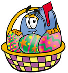 Clip Art Graphic of a Blue Snail Mailbox Cartoon Character in an Easter Basket Full of Decorated Easter Eggs