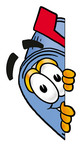 Clip Art Graphic of a Blue Snail Mailbox Cartoon Character Peeking Around a Corner