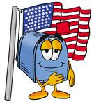 Clip Art Graphic of a Blue Snail Mailbox Cartoon Character Pledging Allegiance to an American Flag