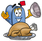 Clip Art Graphic of a Blue Snail Mailbox Cartoon Character Serving a Thanksgiving Turkey on a Platter