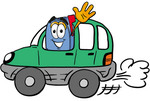 Clip Art Graphic of a Blue Snail Mailbox Cartoon Character Driving a Green Car and Waving