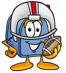 Clip Art Graphic of a Blue Snail Mailbox Cartoon Character in a Helmet, Holding a Football