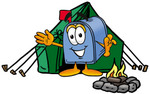 Clip Art Graphic of a Blue Snail Mailbox Cartoon Character Camping With a Tent and Fire