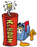 Clip Art Graphic of a Blue Snail Mailbox Cartoon Character Standing With a Lit Stick of Dynamite