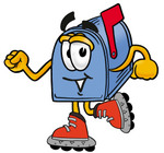 Clip Art Graphic of a Blue Snail Mailbox Cartoon Character Roller Blading on Inline Skates