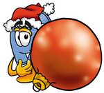 Clip Art Graphic of a Blue Snail Mailbox Cartoon Character Wearing a Santa Hat, Standing With a Christmas Bauble