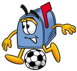Clip Art Graphic of a Blue Snail Mailbox Cartoon Character Kicking a Soccer Ball