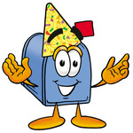 Clip Art Graphic of a Blue Snail Mailbox Cartoon Character Wearing a Birthday Party Hat