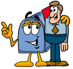 Clip Art Graphic of a Blue Snail Mailbox Cartoon Character Talking to a Business Man
