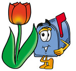 Clip Art Graphic of a Blue Snail Mailbox Cartoon Character With a Red Tulip Flower in the Spring