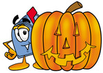 Clip Art Graphic of a Blue Snail Mailbox Cartoon Character With a Carved Halloween Pumpkin